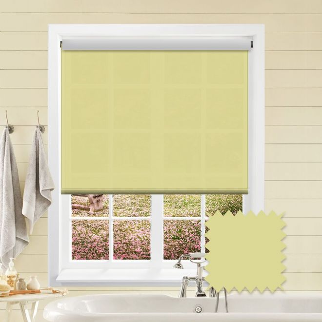 White Roller Blind - Astral Amalfi Yellow Plain - Just Blinds